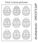 easter eggs. find two of the... | Shutterstock .eps vector #1901571169