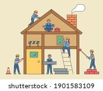 people at the construction site.... | Shutterstock .eps vector #1901583109
