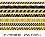 set of warning tapes isolated...   Shutterstock .eps vector #1901595913