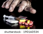dirty hand grabbing narcotics... | Shutterstock . vector #190160534