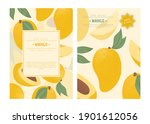 ripe mango with leaves card...   Shutterstock .eps vector #1901612056