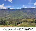 Small photo of beautiful scenery when the sun is hot in the mountains of Lanny Jaya Papua Indonesia