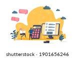 accountant concept in flat...   Shutterstock .eps vector #1901656246