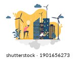 green city concept in flat...   Shutterstock .eps vector #1901656273