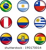 Flag Icons of South America. Vector graphic images of glossy flag icons representing countries within South America.