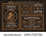 a bundle of vintage coffee... | Shutterstock .eps vector #1901733730
