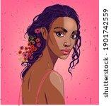 portrait of beautiful black... | Shutterstock .eps vector #1901742559