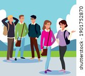 group students talking... | Shutterstock .eps vector #1901752870
