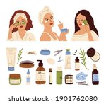 woman skin care. young face ... | Shutterstock .eps vector #1901762080