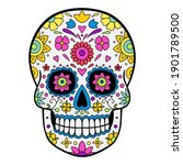 colorful mexican sugar skull....   Shutterstock .eps vector #1901789500