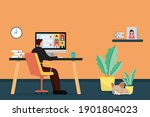 working at home concept... | Shutterstock .eps vector #1901804023