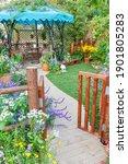 Lush Landscaped Backyard Flower ...