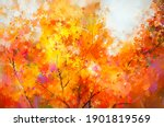 oil painting colorful autumn...   Shutterstock . vector #1901819569