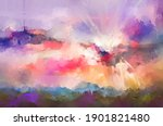 abstract oil painting landscape....   Shutterstock . vector #1901821480