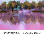 oil painting colorful autumn... | Shutterstock . vector #1901821510