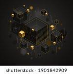 cubes cluster with golden... | Shutterstock .eps vector #1901842909