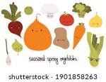 set of cute vector illustration ... | Shutterstock .eps vector #1901858263