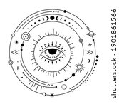 mystic solar system with evil... | Shutterstock .eps vector #1901861566