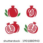 whole and cut pomegranate icon... | Shutterstock .eps vector #1901880943