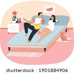 young people spend free time at ... | Shutterstock .eps vector #1901884906