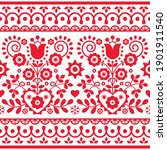 Polish folk art vector seamless textile or greeting card pattern with red tulips, other flowers, hearts and leaves - Lachy Sadeckie  Spring repetitive design, old ethnic decoration from Poland