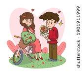 man holding flowers proposing... | Shutterstock .eps vector #1901911999