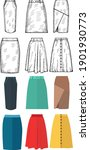 vector set of women's skirts | Shutterstock .eps vector #1901930773