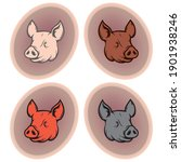 Pig Head On The Button Vector...