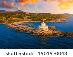 Small photo of Aerial view of Lighthouse of Saint Theodore in Lassi, Argostoli, Kefalonia island in Greece. Saint Theodore lighthouse in Kefalonia island, Argostoli town, Greece, Europe.