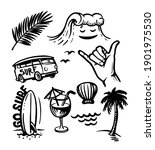 surfing elements in sketch style | Shutterstock .eps vector #1901975530