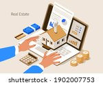 character buying new home with... | Shutterstock .eps vector #1902007753