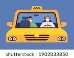 taxi driver in mask. virus... | Shutterstock .eps vector #1902033850