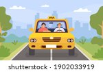 taxi driver and client. man... | Shutterstock .eps vector #1902033919
