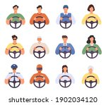 drivers. man and woman driving... | Shutterstock .eps vector #1902034120