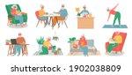 old people home hobby. senior... | Shutterstock .eps vector #1902038809