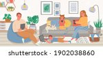 family with gadgets. parents... | Shutterstock .eps vector #1902038860
