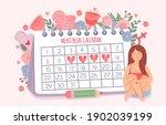 woman and period calendar.... | Shutterstock .eps vector #1902039199