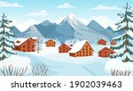 winter mountain with cottages.... | Shutterstock .eps vector #1902039463