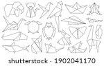 Origami Line Animals. Paper...