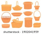 wicker baskets. empty straw... | Shutterstock .eps vector #1902041959