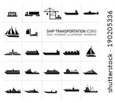 Vector Flat Design Ship And...