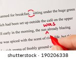 hand with red pen proofreading... | Shutterstock . vector #190206338