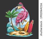 summer flamingos on the beach... | Shutterstock .eps vector #1902064216