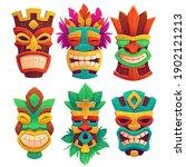 tiki masks  tribal wooden... | Shutterstock .eps vector #1902121213