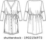 vector technical drawing  dress ... | Shutterstock .eps vector #1902156973