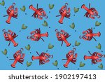red lobster pattern on blue... | Shutterstock . vector #1902197413