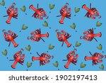 red lobster pattern on blue...   Shutterstock . vector #1902197413