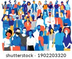 a crowd of male and female... | Shutterstock .eps vector #1902203320