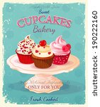 Cupcakes. Poster In Vintage...