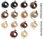 Small photo of A Collection of Different Colors of Pre Bonded Straight Stick Tip Fusion (i tip) Human Hair Extensions, Hair Base Color Palette, Hair Colors chart